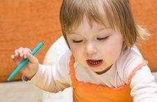 Free Baby Girl Drawing Royalty Free Stock Photos - 9933148