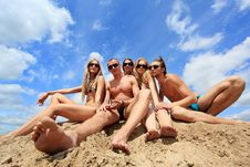 Free Friends On A Sand Royalty Free Stock Photos - 9934248