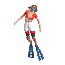 Female Diver With Snorkel Royalty Free Stock Photos