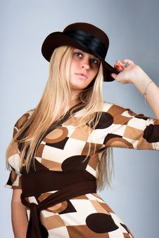 Beautiful Blondy With Brown Hat  Posing Stock Photos