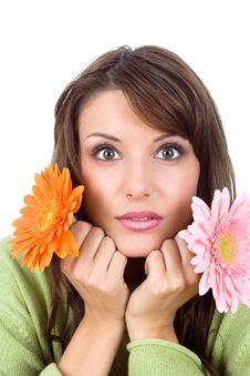 Free Close-up Of Beautiful Woman With Flower Stock Images - 9935834