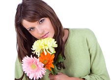 Free Close-up Of Beautiful Woman With Flower Royalty Free Stock Photo - 9935835