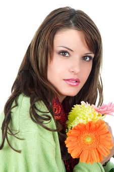 Free Close-up Of Beautiful Woman With Flower Royalty Free Stock Photos - 9935838