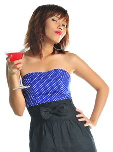 Free Young Asian Woman Holding A Glass Of Cocktail Stock Image - 9936331