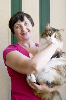 Free Aged Woman And A Cat Stock Images - 9938004