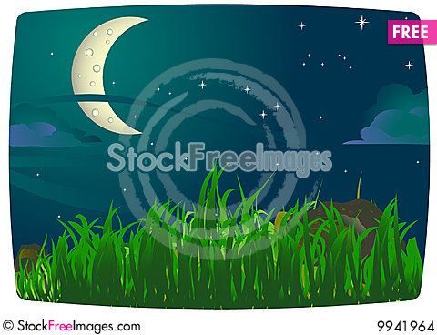 Imaginative night landscape Stock Photo
