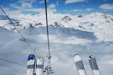 Free Skier S View From Above Stock Photography - 9940222