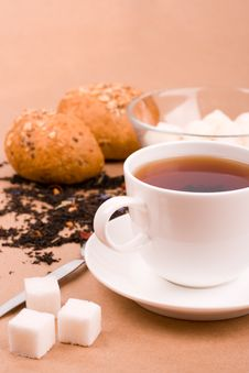 Free Tea, Mozzarella And Bread Stock Images - 9940914