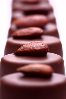 Chocolates With Almonds Stock Photography