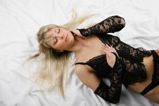 Beautiful Blonde Sex In Bed Stock Images