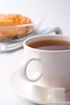 Free Cup Of Tea, Sugar And Cookies Stock Image - 9942881