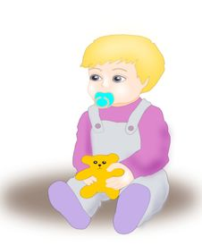 Free Baby With Teddybear. Royalty Free Stock Image - 9943396