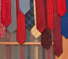 Free Male Ties Hung On Door Stock Images - 9943714