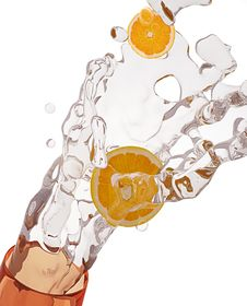Free Orange &water Drops Royalty Free Stock Photo - 9943805