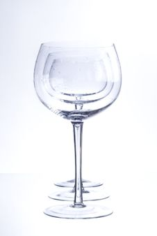 Free Three Empty Glasses Royalty Free Stock Photo - 9944105