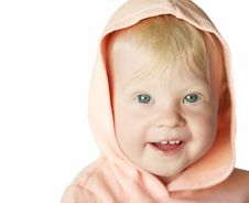 Free Smiling Young Blond Girl In Pink Hood In White Stock Photo - 99405890