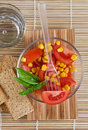 Free Tomato Salad And Basil Stock Photography - 9953842