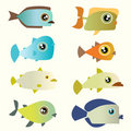 Free Cartoon Fish Set Royalty Free Stock Image - 9955436