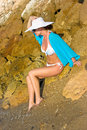 Free Lady In White Hat On The Beach Stock Image - 9956401