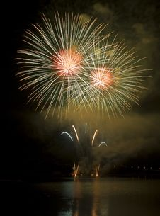 Fireworks With Reflection Royalty Free Stock Photography