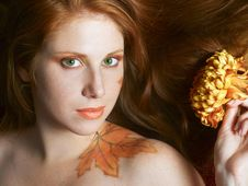 Free Autumn Style Face-art Royalty Free Stock Images - 9952399