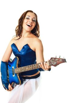 Sexy Girl Playing The Guitar Royalty Free Stock Photography
