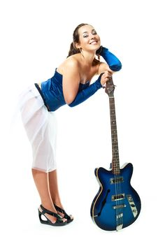 Free Sexy Girl With A Guitar Stock Image - 9953121