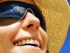 Free Woman On The Blue Sunny Sky Stock Image - 9953231