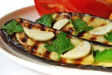 Free Grilled Aubergine With Garlic Royalty Free Stock Photography - 9953237