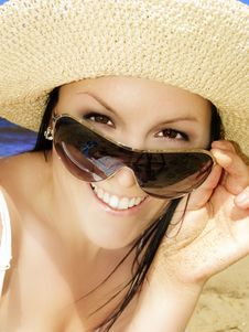 Free Smiling Woman On The Beach Stock Photography - 9953292
