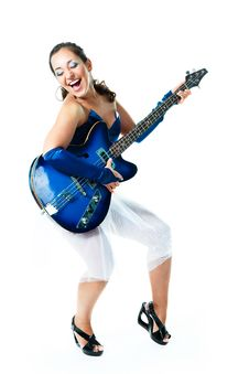 Free Happy Girl With A Guitar Royalty Free Stock Image - 9953416