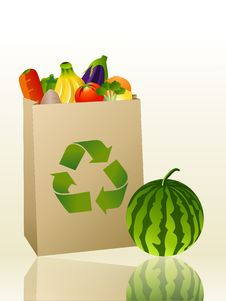 Free Groceries In A Recycled Bag Royalty Free Stock Photo - 9953835