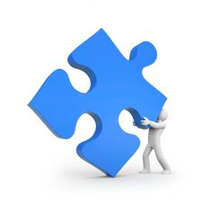 Person Push Puzzle Royalty Free Stock Photo