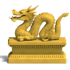 Free Golden Chinese Dragon Statue Royalty Free Stock Photography - 9955967