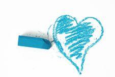 Free Blue Heart Pastel Sticks Doodle Stock Photography - 9956112