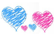 Free Blue An Pink Doodle Heart Stock Image - 9956241
