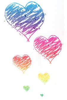 Free Colorful Hearts Doodle Royalty Free Stock Photo - 9956315