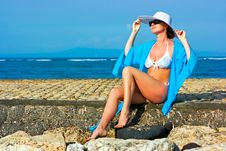 Free Lady In Blue Shawl On The Beach Royalty Free Stock Photos - 9956418