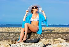Free Lady In Blue Shawl On The Beach Stock Photography - 9956432