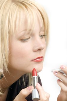 Free The Young Blond Girl With Lipstick Stock Images - 9959794