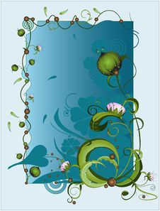 Free Vector Frame. Bright Floral Pattern. Royalty Free Stock Photos - 9959908