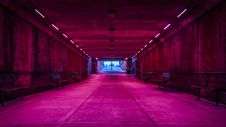 Free Pink Lights In Tunnel Royalty Free Stock Photography - 99545817