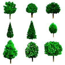 Free Pixel Art Trees Collection Isolated On White. Vector Trees Set Stock Images - 99584714