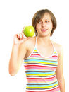 Free Cute Lady With A Green Apple Royalty Free Stock Photos - 9960218