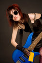 Free Industrial Girl With Bass Guitar Royalty Free Stock Images - 9966469