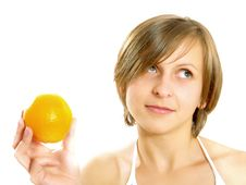 Free Pretty Young Lady With Orange Stock Image - 9960241