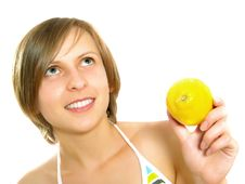 Free Smiling Young Lady With Lemon Stock Photos - 9960243