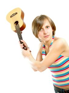Fighting With A Guitar Stock Image