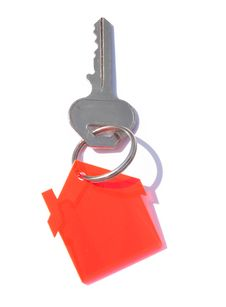 Free House Key Over White Royalty Free Stock Photos - 9960868