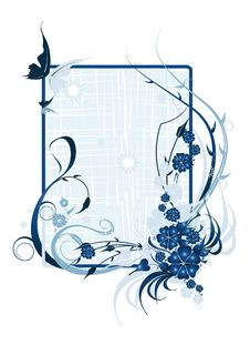 Free Vector Illustration Flowers On A Blue Background Stock Photos - 9960993